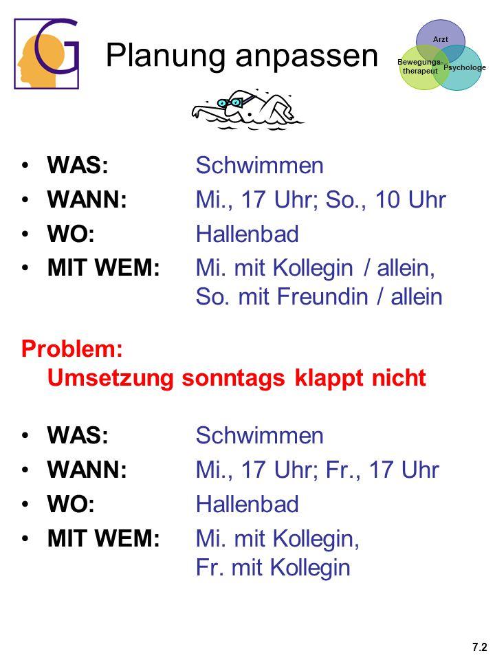 Planung anpassen WAS: Schwimmen WANN: Mi., 17 Uhr; So., 10 Uhr