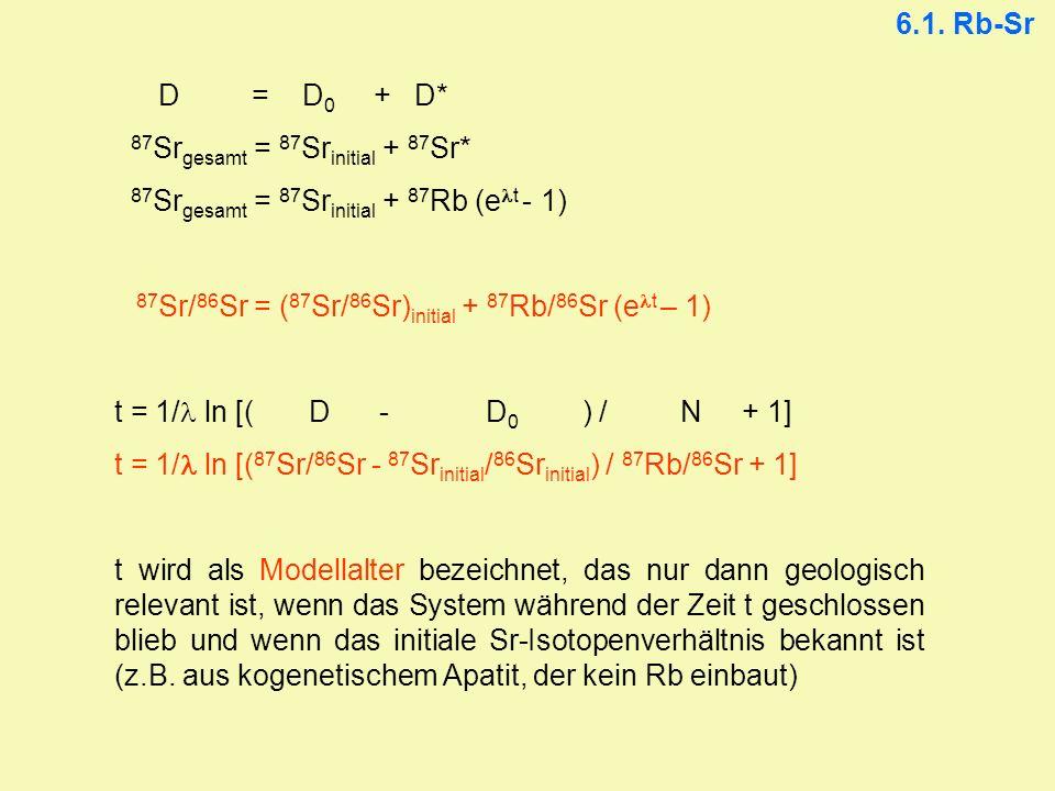 6.1. Rb-Sr D = D0 + D* 87Srgesamt = 87Srinitial + 87Sr* 87Srgesamt = 87Srinitial + 87Rb (elt - 1)