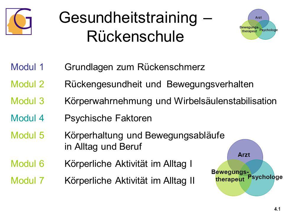 Gesundheitstraining – Rückenschule