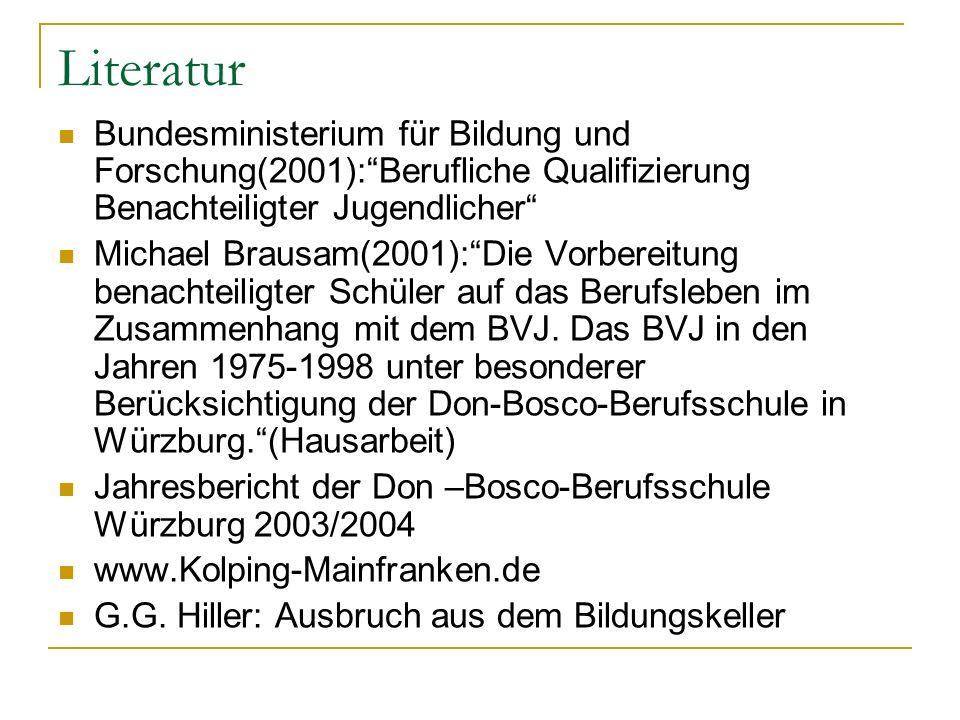 Literatur Bundesministerium für Bildung und Forschung(2001): Berufliche Qualifizierung Benachteiligter Jugendlicher