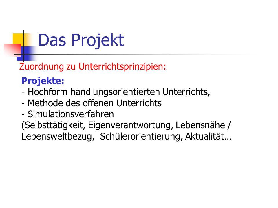 Das Projekt Zuordnung zu Unterrichtsprinzipien: Projekte: