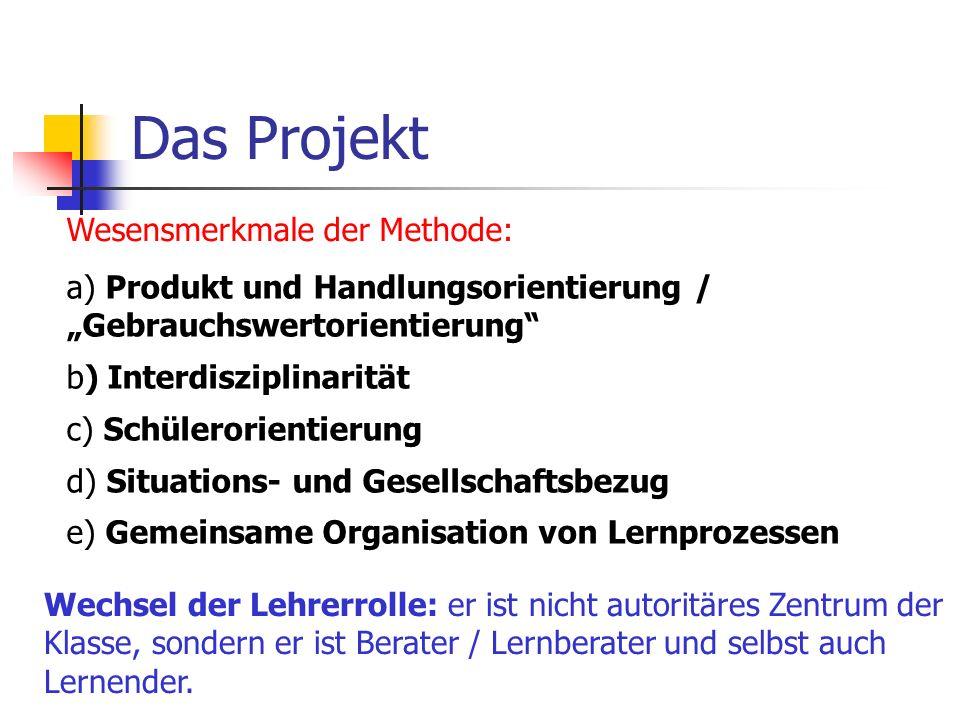 Das Projekt Wesensmerkmale der Methode:
