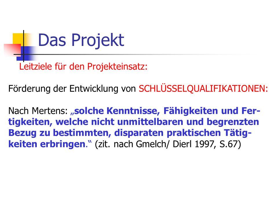 Das Projekt Leitziele für den Projekteinsatz: