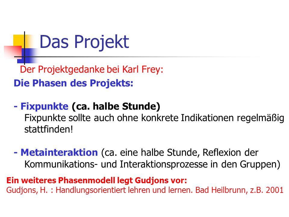 Das Projekt Der Projektgedanke bei Karl Frey: Die Phasen des Projekts: