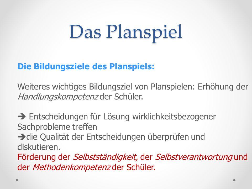 Das Planspiel Die Bildungsziele des Planspiels:
