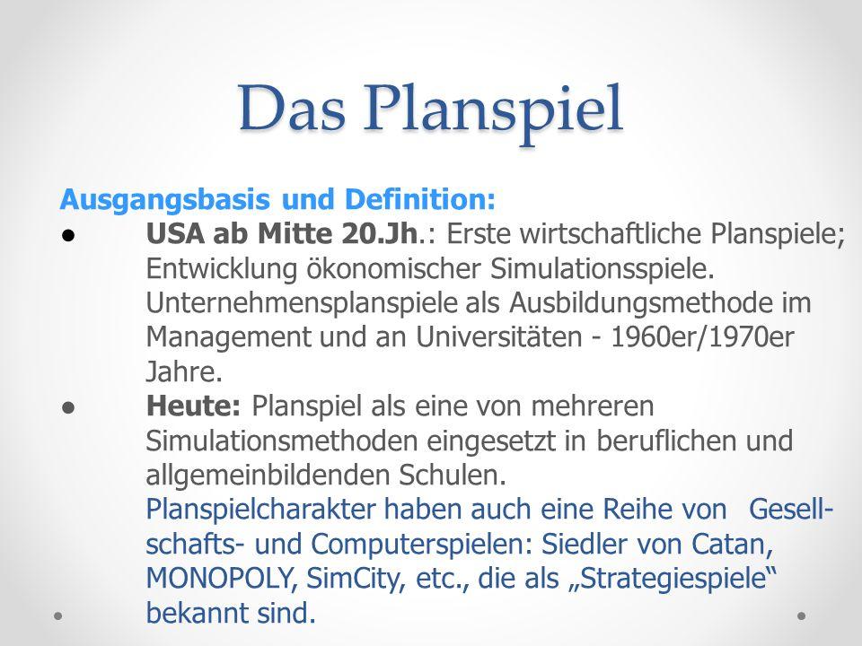 Das Planspiel Ausgangsbasis und Definition:
