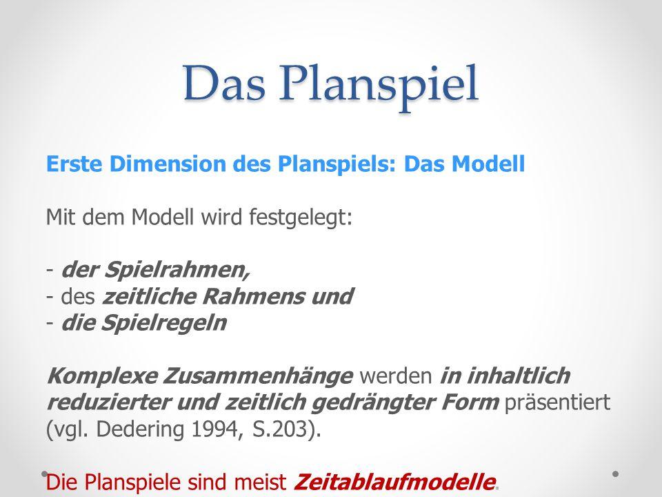 Das Planspiel Erste Dimension des Planspiels: Das Modell