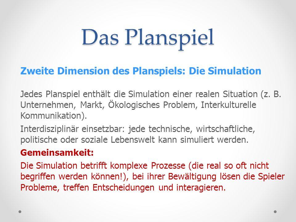 Das Planspiel Zweite Dimension des Planspiels: Die Simulation