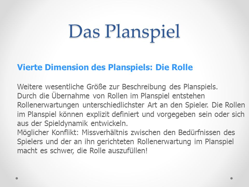 Das Planspiel Vierte Dimension des Planspiels: Die Rolle