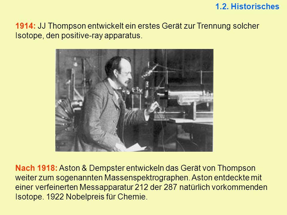 1.2. Historisches 1914: JJ Thompson entwickelt ein erstes Gerät zur Trennung solcher Isotope, den positive-ray apparatus.