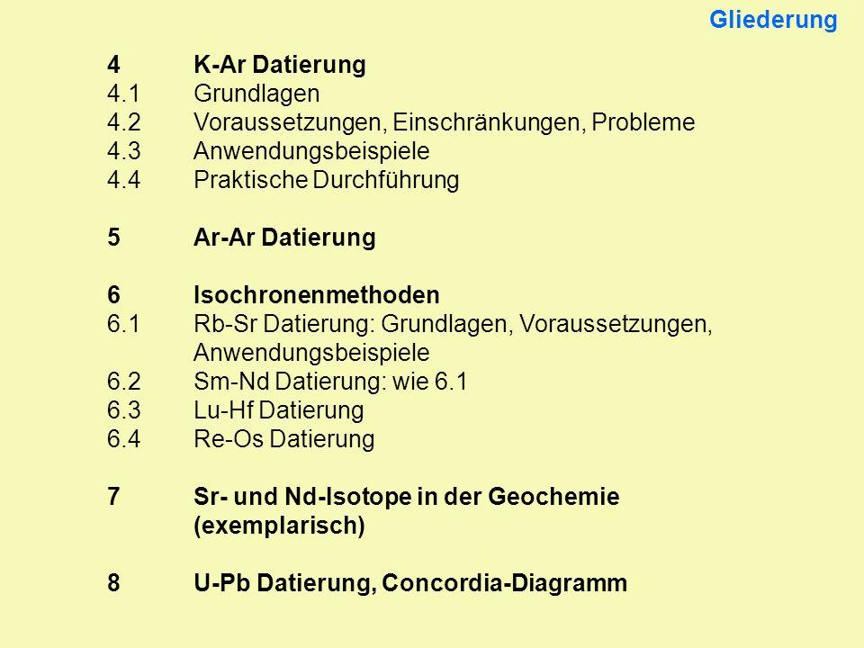 Gliederung 4 K-Ar Datierung. 4.1 Grundlagen. 4.2 Voraussetzungen, Einschränkungen, Probleme. 4.3 Anwendungsbeispiele.