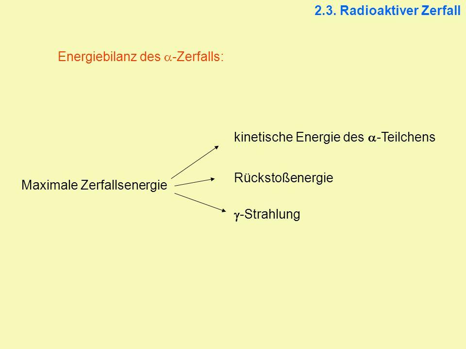2.3. Radioaktiver Zerfall Energiebilanz des a-Zerfalls: kinetische Energie des a-Teilchens. Rückstoßenergie.
