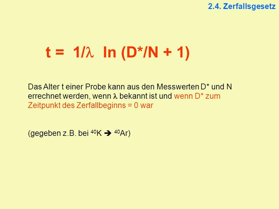 t = 1/l ln (D*/N + 1) 2.4. Zerfallsgesetz