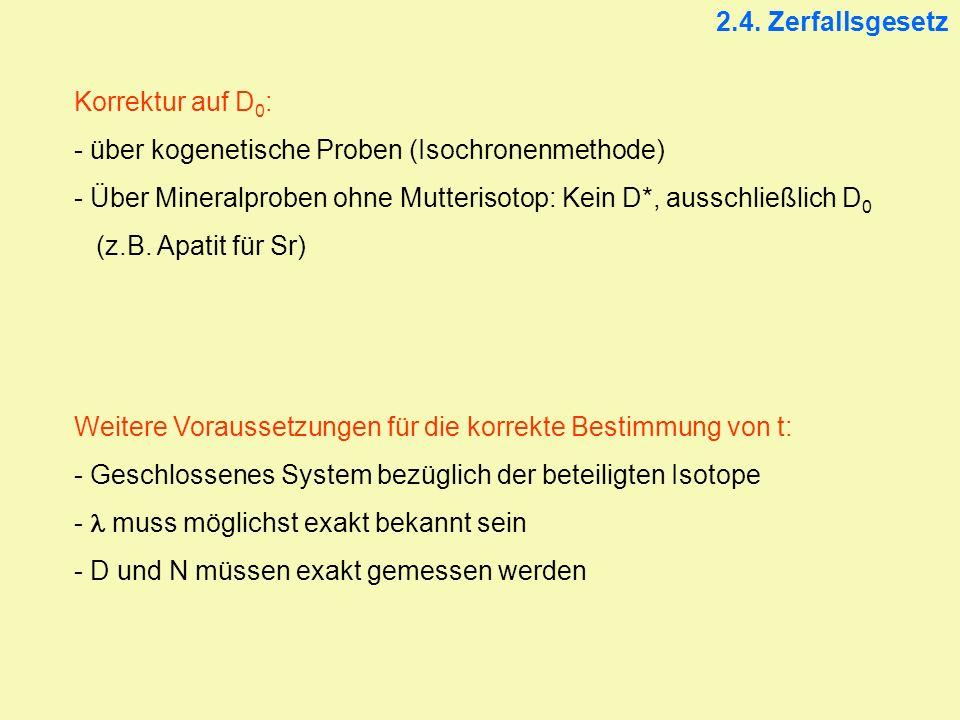 2.4. Zerfallsgesetz Korrektur auf D0: über kogenetische Proben (Isochronenmethode)