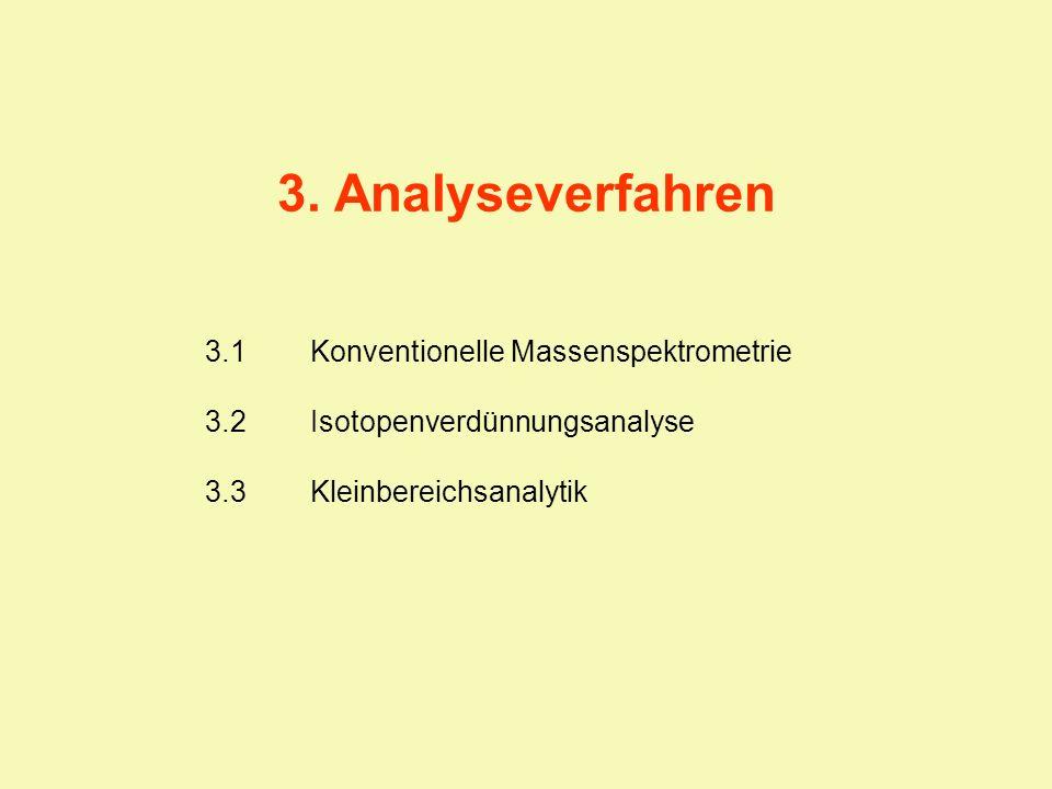 3. Analyseverfahren 3.1 Konventionelle Massenspektrometrie