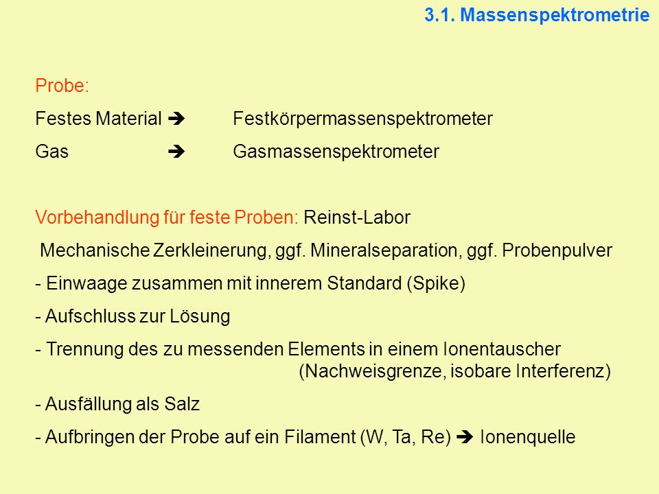 3.1. Massenspektrometrie Probe: Festes Material  Festkörpermassenspektrometer. Gas  Gasmassenspektrometer.
