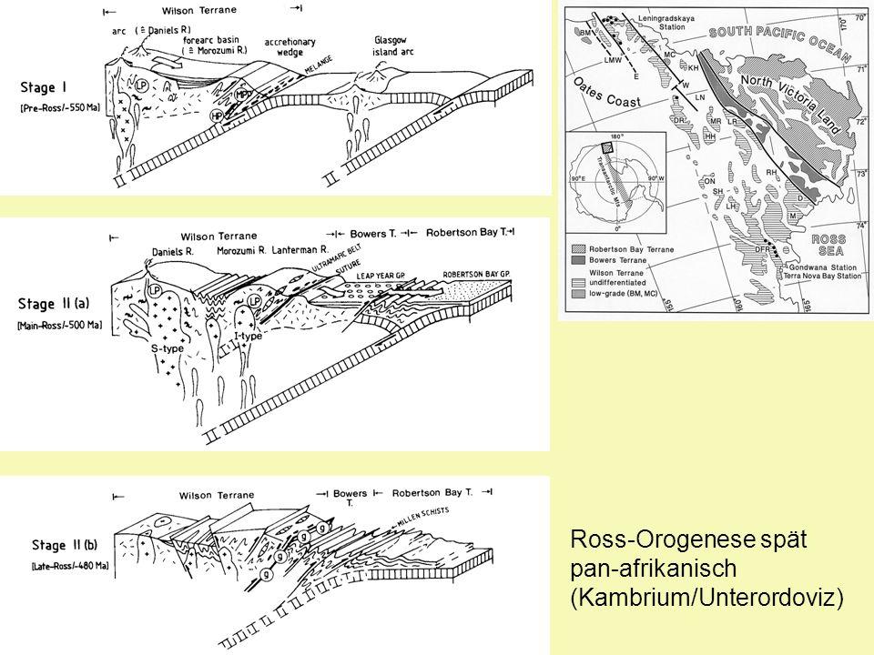 Ross-Orogenese spät pan-afrikanisch (Kambrium/Unterordoviz)
