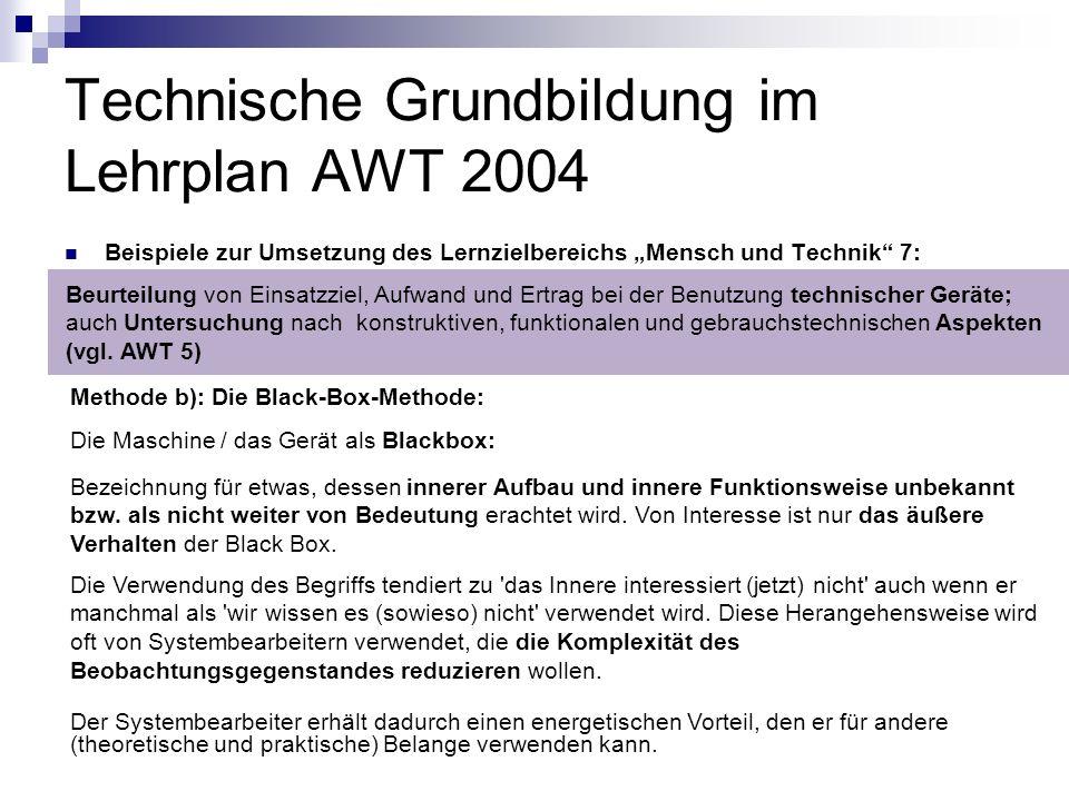Technische Grundbildung im Lehrplan AWT 2004