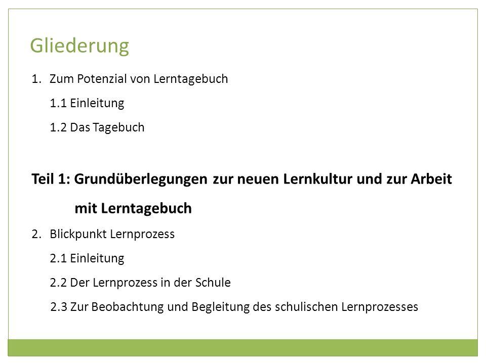 Gliederung Zum Potenzial von Lerntagebuch. 1.1 Einleitung. 1.2 Das Tagebuch.