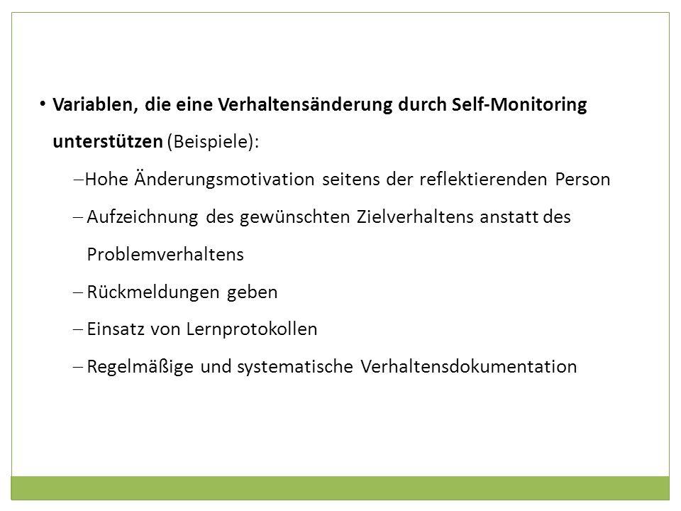 Variablen, die eine Verhaltensänderung durch Self-Monitoring unterstützen (Beispiele):