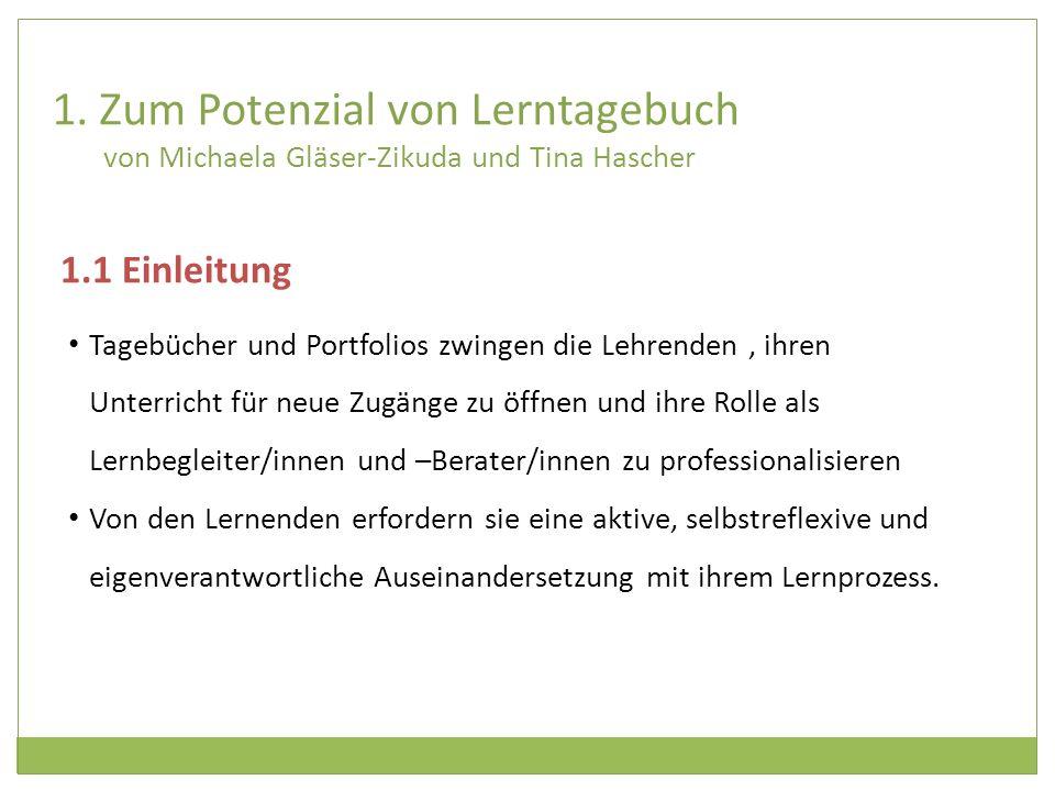 1. Zum Potenzial von Lerntagebuch von Michaela Gläser-Zikuda und Tina Hascher
