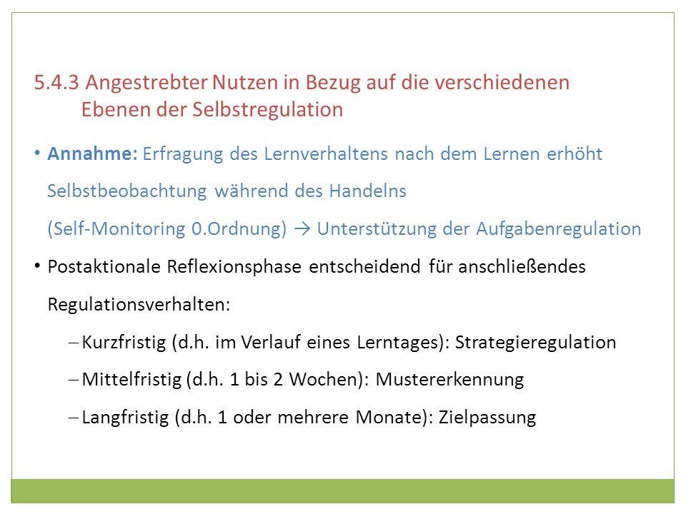 5.4.3 Angestrebter Nutzen in Bezug auf die verschiedenen Ebenen der Selbstregulation
