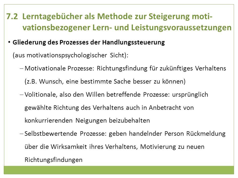 7.2 Lerntagebücher als Methode zur Steigerung moti-vationsbezogener Lern- und Leistungsvoraussetzungen