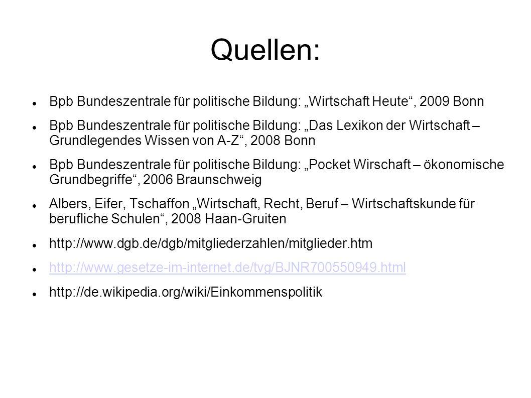 """Quellen: Bpb Bundeszentrale für politische Bildung: """"Wirtschaft Heute , 2009 Bonn."""