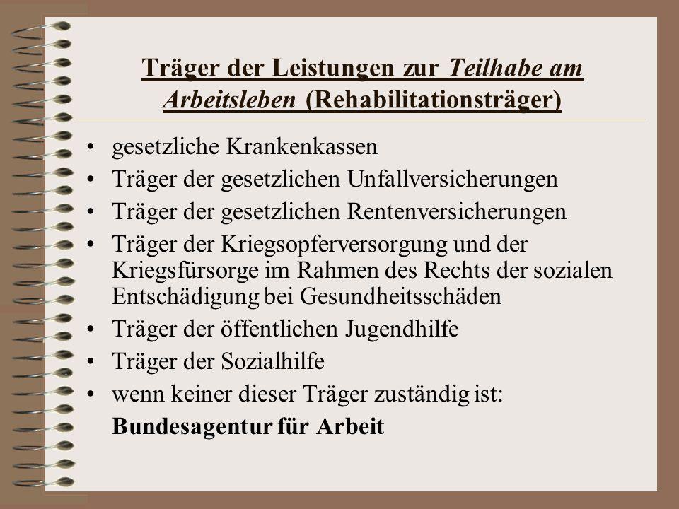 Träger der Leistungen zur Teilhabe am Arbeitsleben (Rehabilitationsträger)