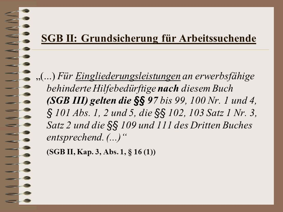 SGB II: Grundsicherung für Arbeitssuchende