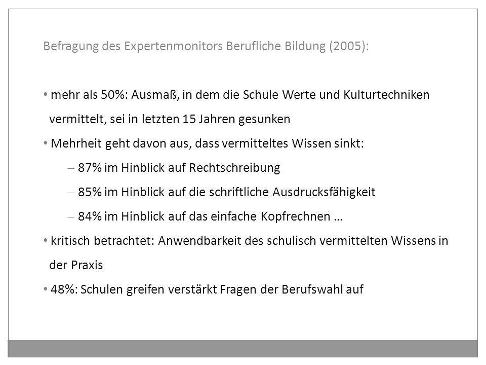 Befragung des Expertenmonitors Berufliche Bildung (2005):