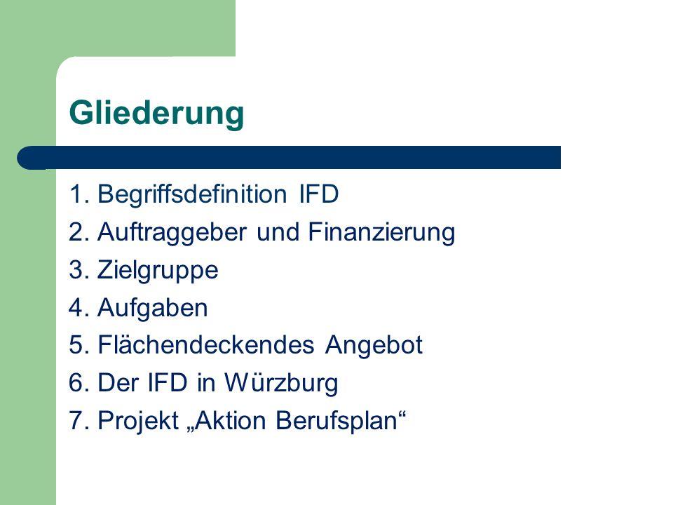 Gliederung 1. Begriffsdefinition IFD 2. Auftraggeber und Finanzierung
