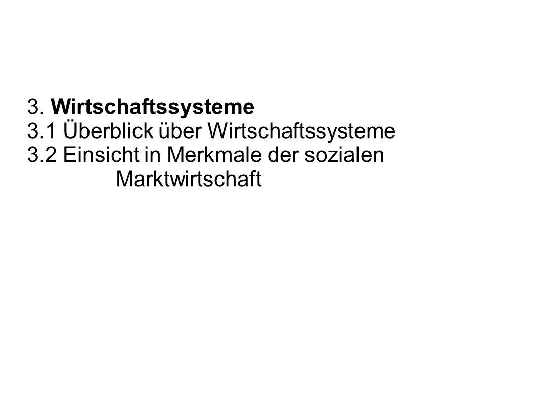 3. Wirtschaftssysteme 3.1 Überblick über Wirtschaftssysteme.
