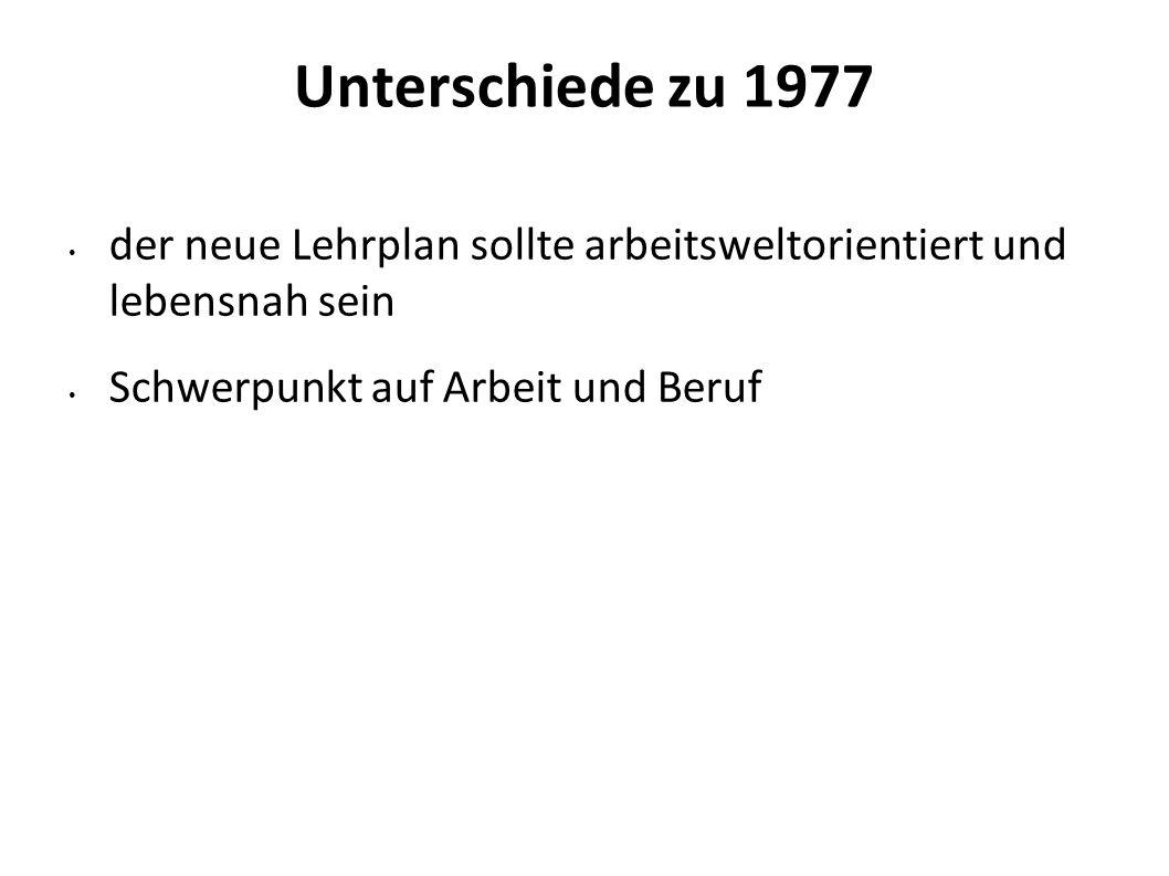 2626 Unterschiede zu 1977. der neue Lehrplan sollte arbeitsweltorientiert und lebensnah sein.
