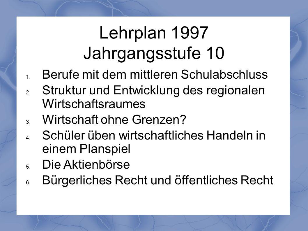 Lehrplan 1997 Jahrgangsstufe 10