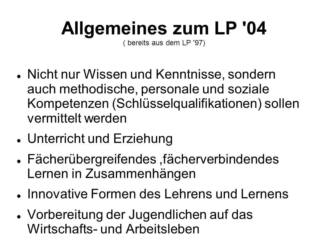 Allgemeines zum LP 04 ( bereits aus dem LP 97)