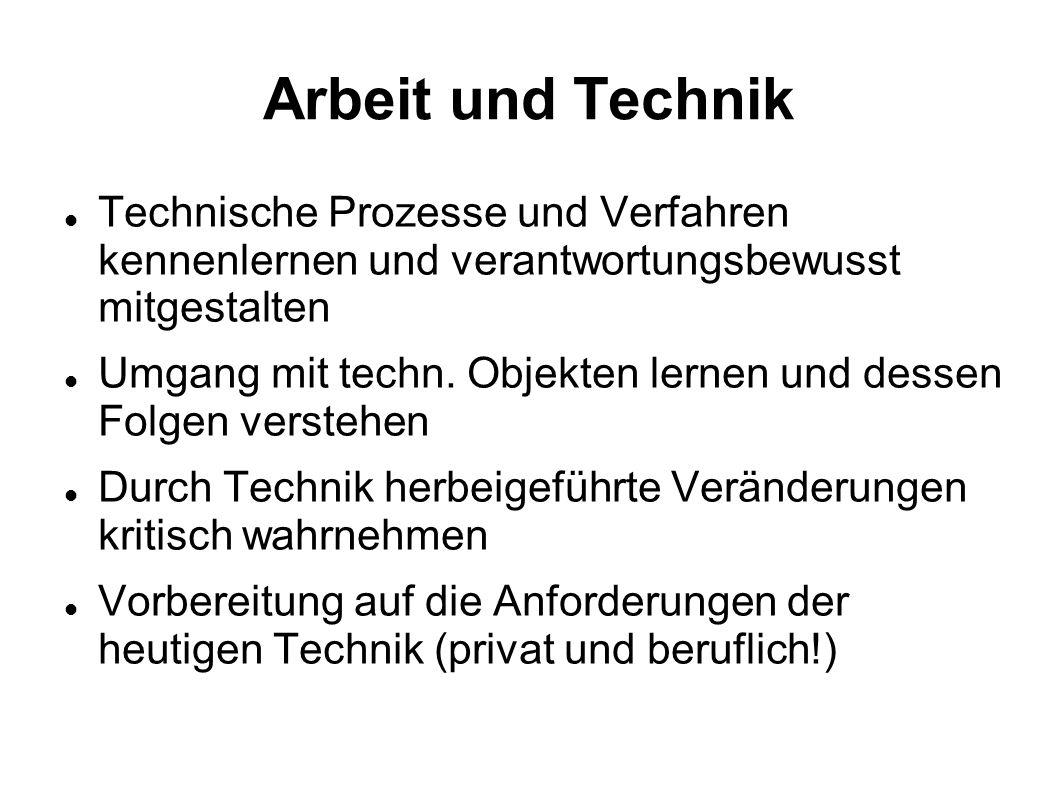 Arbeit und Technik Technische Prozesse und Verfahren kennenlernen und verantwortungsbewusst mitgestalten.