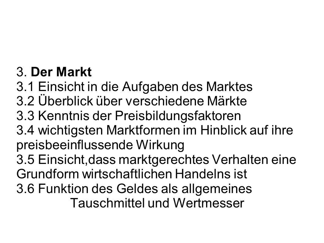 3. Der Markt 3.1 Einsicht in die Aufgaben des Marktes. 3.2 Überblick über verschiedene Märkte. 3.3 Kenntnis der Preisbildungsfaktoren.
