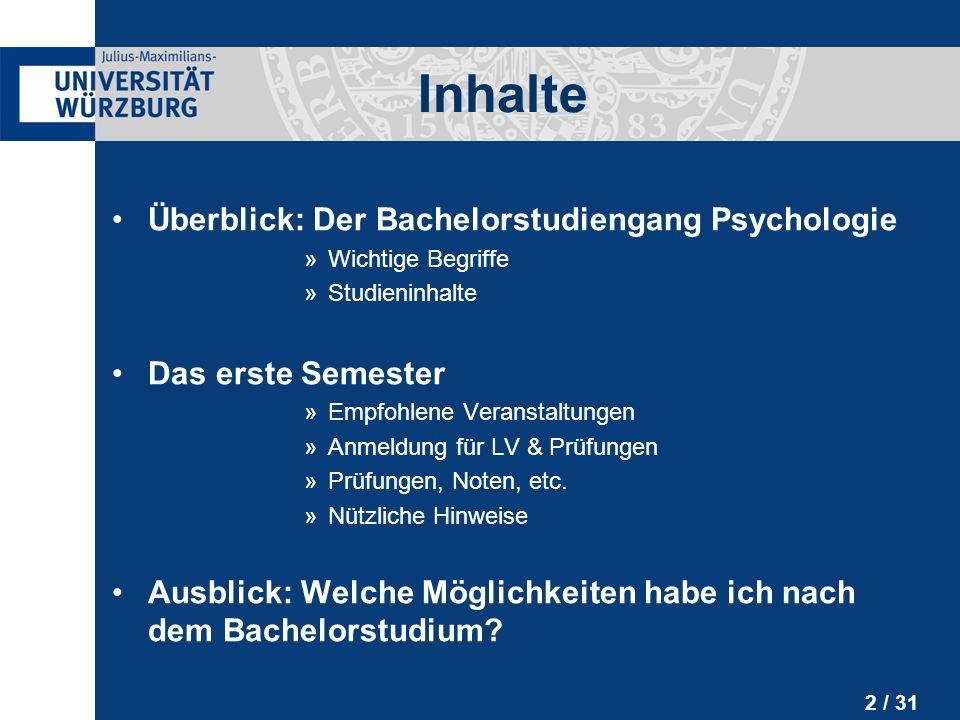 Inhalte Überblick: Der Bachelorstudiengang Psychologie