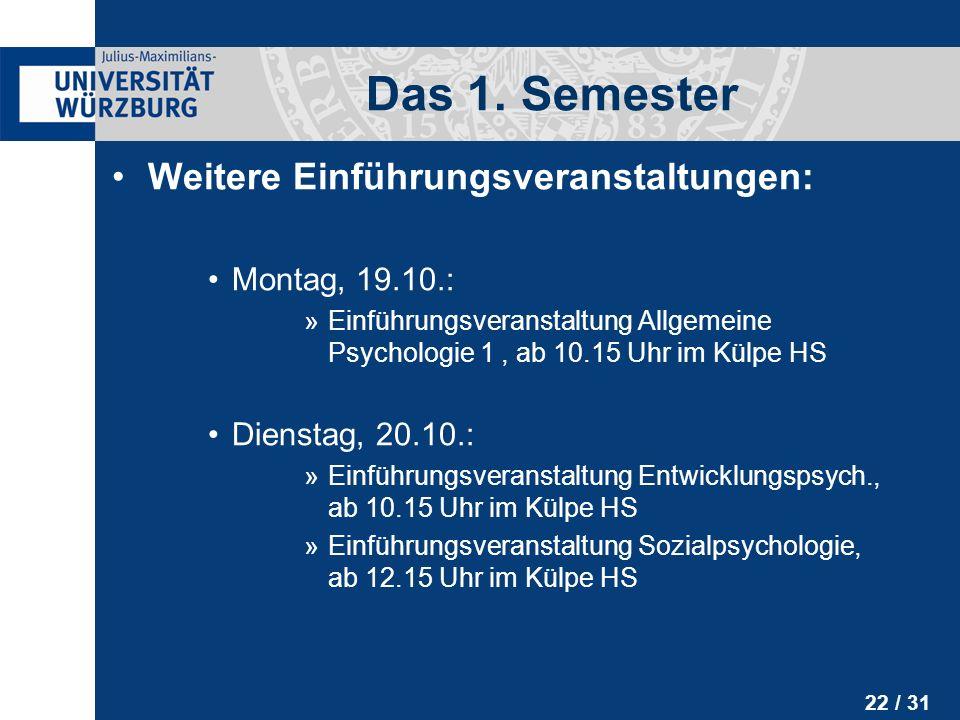 Das 1. Semester Weitere Einführungsveranstaltungen: Montag, 19.10.: