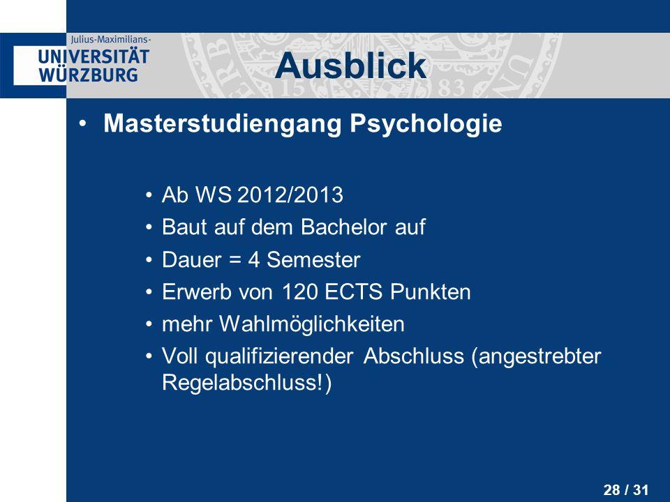 Ausblick Masterstudiengang Psychologie Ab WS 2012/2013