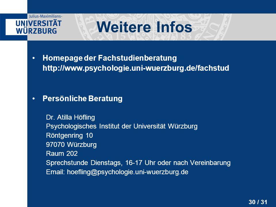 Weitere Infos Homepage der Fachstudienberatung