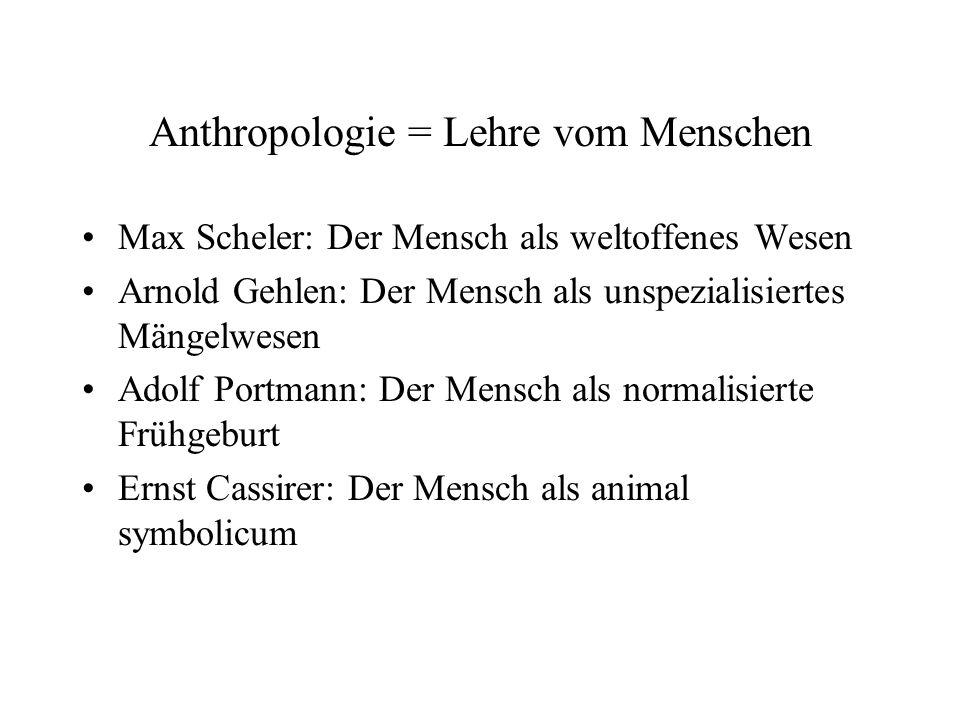 Anthropologie = Lehre vom Menschen