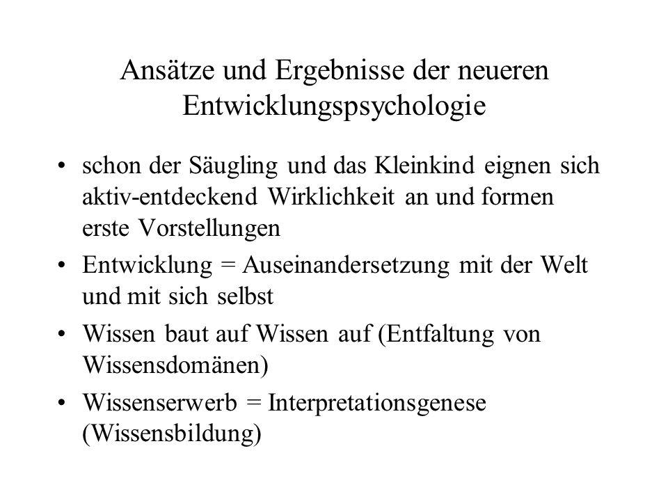 Ansätze und Ergebnisse der neueren Entwicklungspsychologie