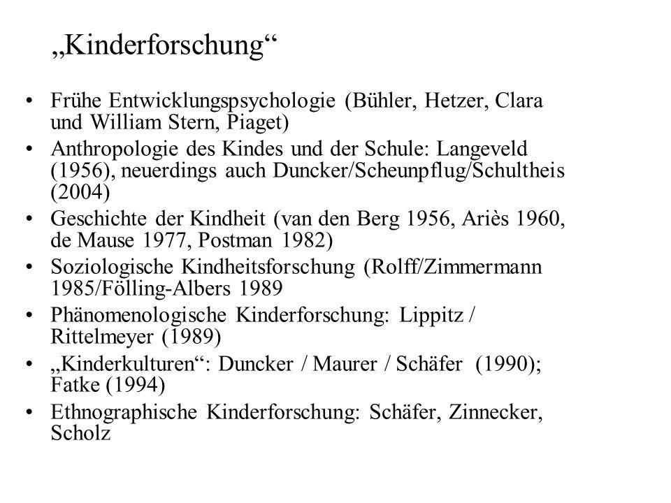 """""""Kinderforschung Frühe Entwicklungspsychologie (Bühler, Hetzer, Clara und William Stern, Piaget)"""