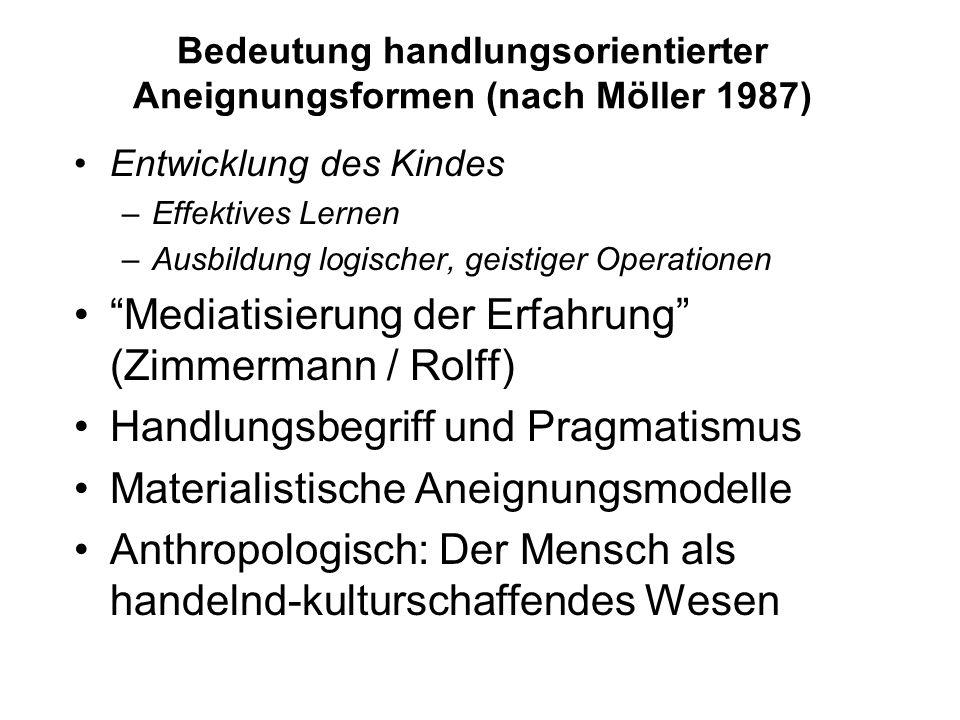 Bedeutung handlungsorientierter Aneignungsformen (nach Möller 1987)