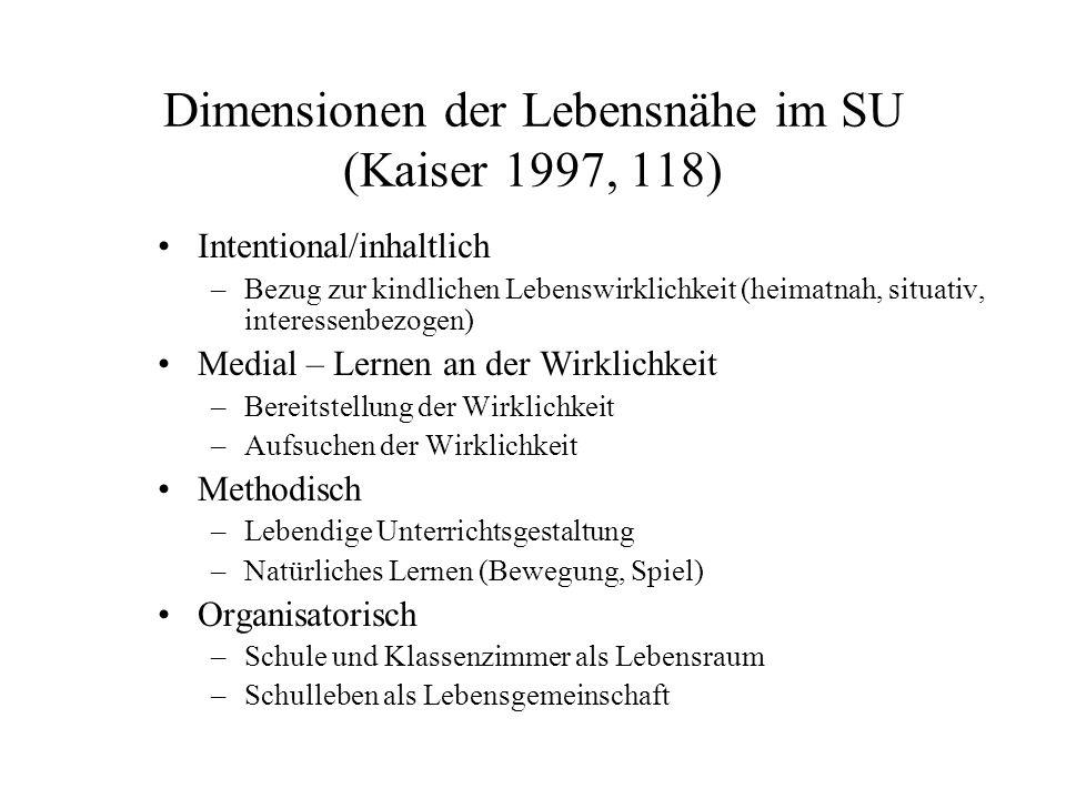 Dimensionen der Lebensnähe im SU (Kaiser 1997, 118)