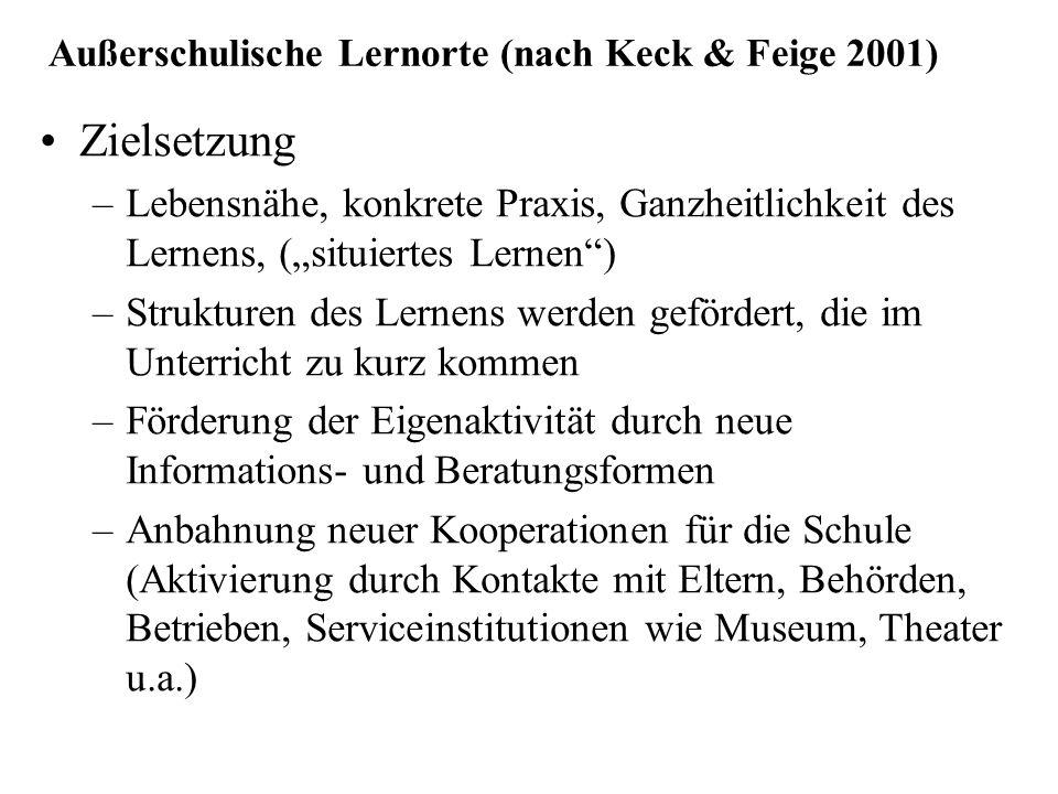 Außerschulische Lernorte (nach Keck & Feige 2001)