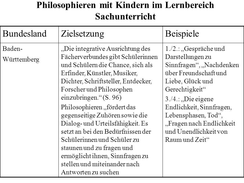 Philosophieren mit Kindern im Lernbereich Sachunterricht