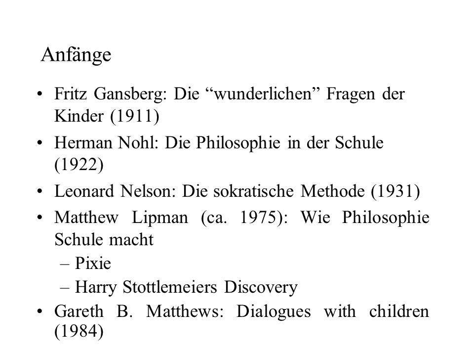 Anfänge Fritz Gansberg: Die wunderlichen Fragen der Kinder (1911)